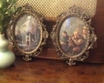 Set of TWO Vintage Brass Italian Framed Prints in Renaissance Pattern Made in Italy Early 1970s