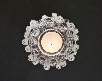 Kosta Boda Scandinavian Modernist Icy Glass Candle Holder // Goran Warff Sweden