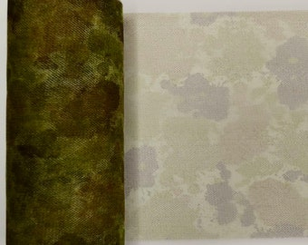 Mix of Printed 6 inch wide Tulle Mesh Ribbon / Camo and Leopard - 12 yards