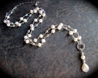 "Freshwater Pearl Extra Long Rosary Style Necklace Wire wrapped pearl links Creamy white pearls 30"" with 4"" extender Coin Pearl Pendant"