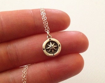 Compass Necklace in Sterling Silver -Silver Compass Necklace -Lovely Gift