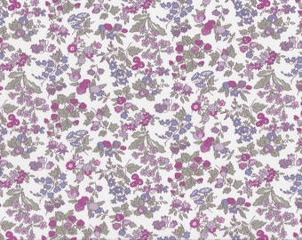 Fat eighth Nancy Ann B, purple small scale floral and strawberry classic floral Liberty print