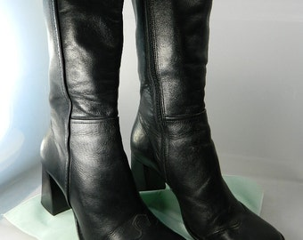 Vintage Black Leather Boots Size 7 1/2 M Chunky Heel Maripe Mid Calf 1980's