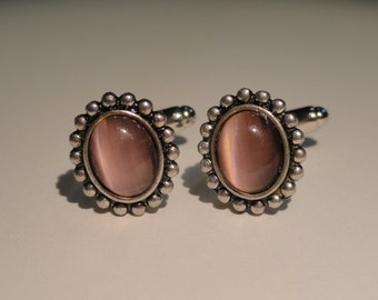 Elliptical Pink Glass Cufflinks