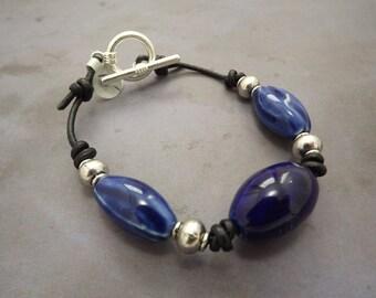 Large Blue Ceramic Bohemian Bracelet Unisex- Anklet - 8 1/2 inches