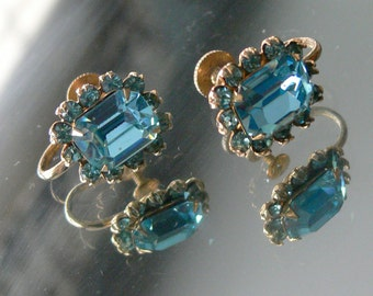 coro  clip glass aqual earrings and rhinestones