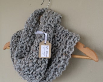 Birch Cowl / Grey Marble / Neutral Knitted Chunky Eternity Circle Cowl Scarf Infinity Loop