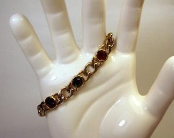 Vintage Jewelled Bracelet / Rhinestone / Gold Tone / Jewelry / Jewellry / Glass