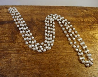 Vintage Faux Pearl Necklace / Two Strands Small Pearls / Silver Tone / Jewelry / Jewellry