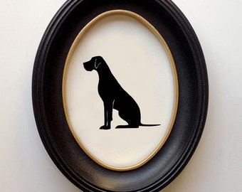 FRAMED Great Dane Silhouette - Hand-cut Original Dog Art Design:DOG-GRD08