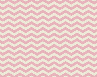 Pink and Cream Chevron Fabric - True Colors by Heather Bailey from Free Spirit - 1/2 Yard