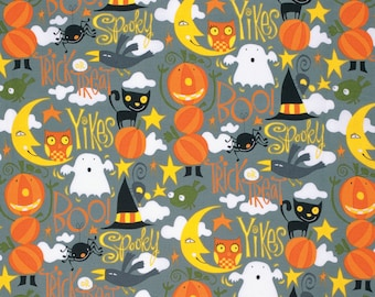 CLEARANCE - Witch, Pumpkin, Cat, and Ghost Halloween Fabric - Happy Halloween by David Walker from Free Spirit - 1 Yard