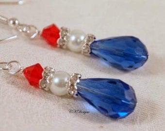 Patriotic Earrings, Red, White and Blue, Pearls and Glass Beads, Dangle Pierced Earrings. OOAK Handmade Earrings. CKDesigns.US