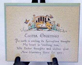 Hand Painted Art Deco Easter Card 1920's Unused
