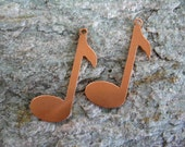 """Musical Note Copper Stamping Blanks, Set of 2, 1 3/8"""" Height 24 Gauge Copper, Ready to Ship"""