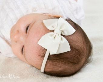 Ivory Bow Headband - Flower Girl Headband - Plain Ivory Grosgrain Bow Handmade Headband - Baby to Adult Headband