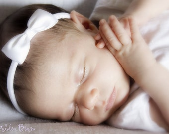 White Baby Headbands Bows - Flower Girl Headband - Small Satin White Bow Handmade Headband - Newborn to Adult Headband