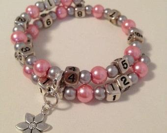 READY TO SHIP- Nursing/Breastfeeding Bracelet Pink and Silver #27