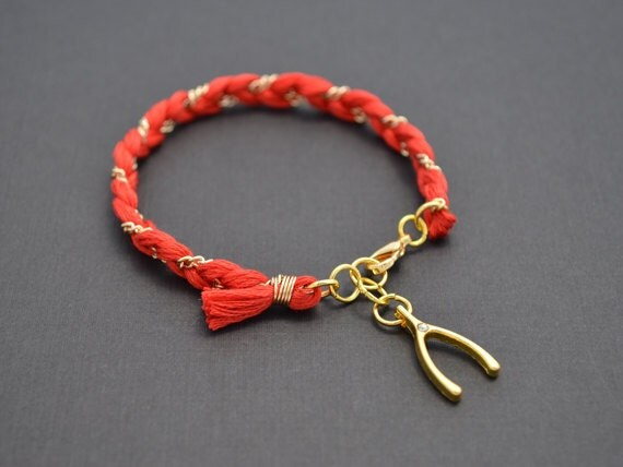 40% OFF, Color bracelet, Cotton bracelet, Gold bracelet, Wishbone bracelet, Friendship bracelet, Personalized bracelet, Charm bracelet