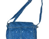 Vintage 90s Embroidered Denim Bag / Purse