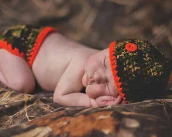 Infant Boys Hunter Camo and Orange Baby Diaper Cover and Baby Hat Set-  Baby Shower Gift,