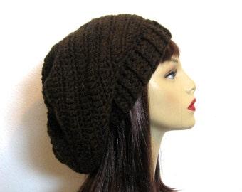 Brown Slouch Hat Dark Brown Beanie Chocolate Crochet Slouchy Hat Brown Slouch knit Tam Slouchy Brown Beanie Dark Brown Hat Slouch Beanie