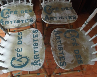 Bespoke dining room table & chairs with hand painted still life and vintage French typography.