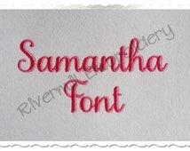 Samantha Script Basic Machine Embroidery Font Monogram Alphabet - 3 Sizes