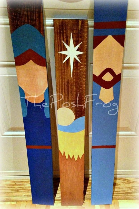 Items similar to rustic christmas nativity manger scene for Wood craft painting ideas