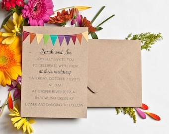 Rainbow Wedding Invitation, Kraft Paper Invite, Whimsical Wedding Suite, Paper Bag Invitation, Affordable Wedding Invites, Colorful Invite