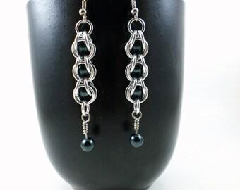 Black Pearl Chainmaille Earrings