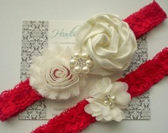 Beautiful IVORY RED Bridal Garter Set - Ivory Keepsake & Toss Wedding Garters - Chiffon Flower Rhinestone Lace Garters - Valentine's Garter