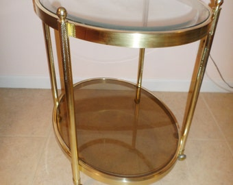 TOP BRASS / Stunning Solid Brass French Bar Cart / Beveled Two-Tiered Glass / Finials / True Hollywood Regency