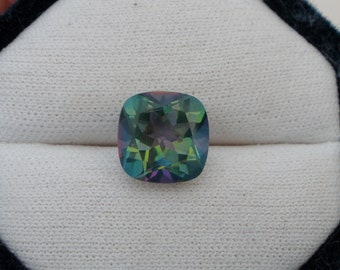 Green mystic topaz cushion gem 11mm