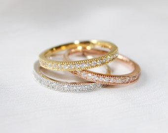 0.63ct  3  HALF ETERNITY BAND in 14k Gold Any Color