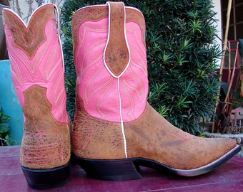 Artisan Handmade Cowboy Boots mens 10D  Pink & Whiskey Leather