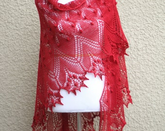 Knitted shawl in red color, wedding shawl, bridesmaids shawl, wool shawl, lace shawl, gift for her, wedding shawl, bridesmaids shawl