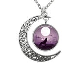 Wolf Howling at Full Moon Pendant Filigree Crescent Moon Antique Silver Necklace