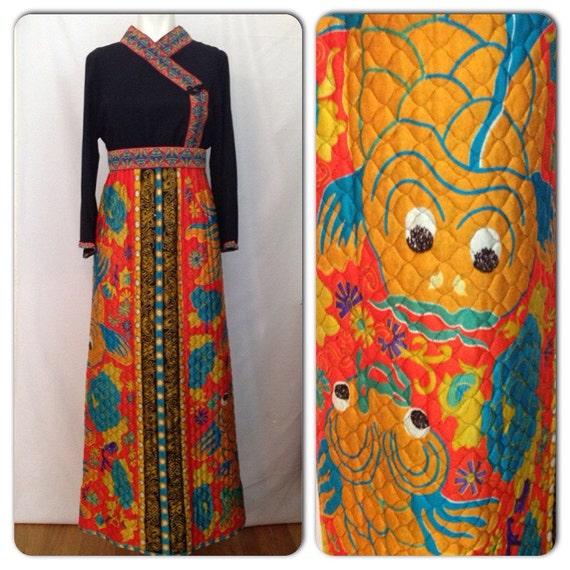 Vintage 1960s vibrant koi fish asian print by for Koi fish dress