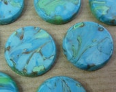2 glass cabochons, Ø18mm, turquoise marbled, round