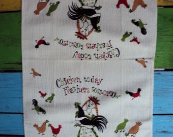 Vtg. Unused Tea Dish Towel Chicken Today Feathers Tomorrow GREEN