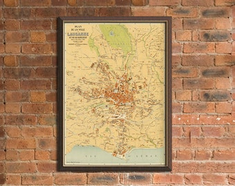 Vintage map of Lausanne - Old map archival print - Large wall map - up to 35 x 43.5 inches