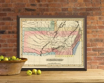 Arkansas map - Antique map of Arkansas - fine reproduction