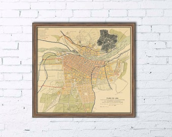 Old map of Lima -  Historic map of Lima - Print