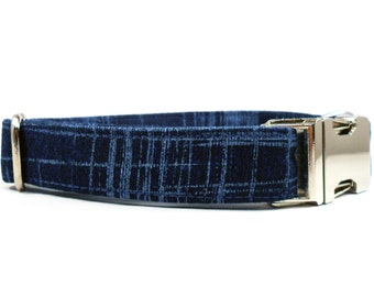 Dog Collar, INDIGO, Handmade Dog Collar