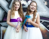 Felt Flower and Button Flower Girl Wand  - Blue and Turquoise Custom Colours