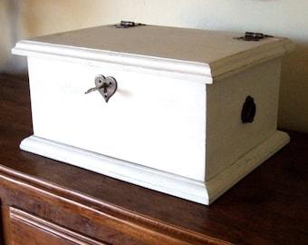 White Heart Lock Keepsake Box, Wedding Box - Handmade by Arcadian Cottage