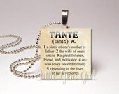 "Tante Necklace Tante JewelryPendant Dictionary Definition Antique Paper1""x1""  Wood Tile - Aunt Jewelry Aunt Gift New Baby"