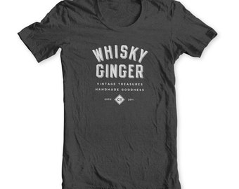 Whiskey Ginger Tee Shirt - Unisex Men Heather Grey Charcoal Whisky Shirt Ginger Shirt Vintage Shirt Gray Vintage Tee Rustic - Co 2011 Medium