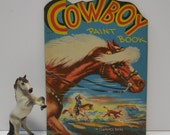 Vintage Cowboy Paint Book 1949 Biers coloring book Horses Western Cattle roundup Dude ranch